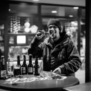 Silvester 2015-16 Joe am Doener vor dem Donaucenter in Neu-Ulm