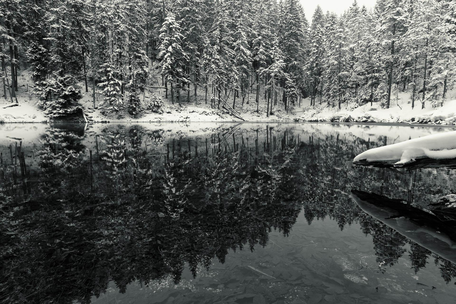 Reflektionen im Winter am Eibsee bei Grainau